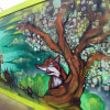 New mural on hoardings, Alfred Gardens, Barking