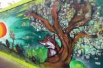 New mural on hoardings, Alfred Gardens, Barking