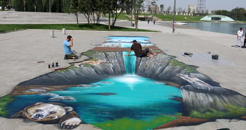 3d floor mural in baku azerbaijan graffiti art for 3d flooring uk