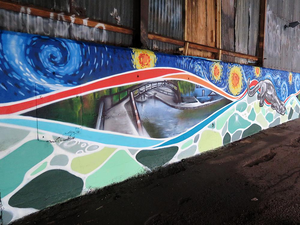 Brentford canal mural graffiti art workshops community for Canal fluminense mural
